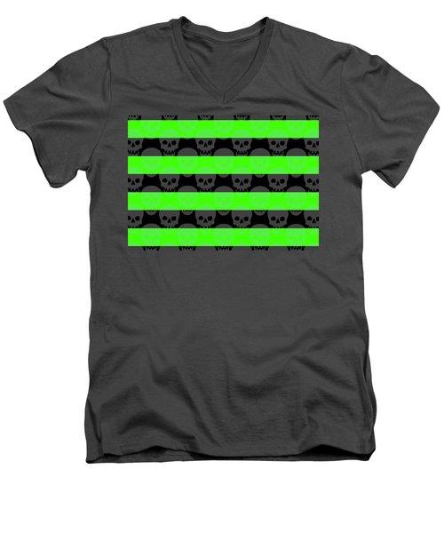 Green Skull Stripes Men's V-Neck T-Shirt by Roseanne Jones