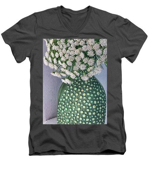 Green Slip Still Men's V-Neck T-Shirt