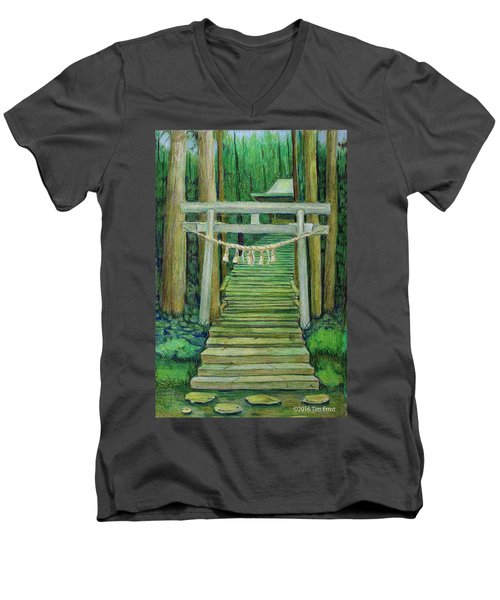 Men's V-Neck T-Shirt featuring the drawing Green Stairway by Tim Ernst