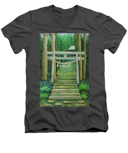 Green Stairway Men's V-Neck T-Shirt by Tim Ernst