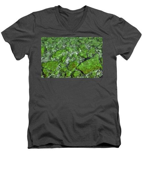 Men's V-Neck T-Shirt featuring the photograph Green Stone Waters by LeeAnn McLaneGoetz McLaneGoetzStudioLLCcom