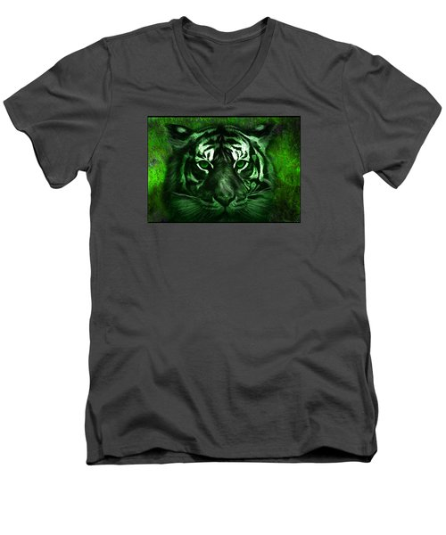 Green Tiger Men's V-Neck T-Shirt by Michael Cleere