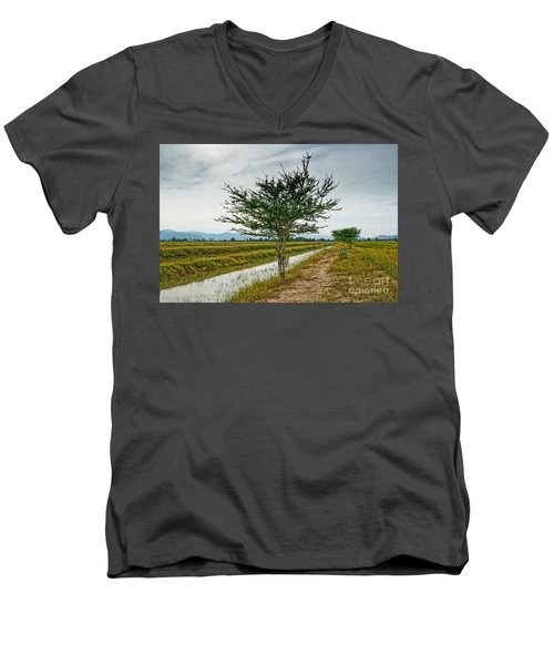 Men's V-Neck T-Shirt featuring the photograph Green Tree by Arik S Mintorogo