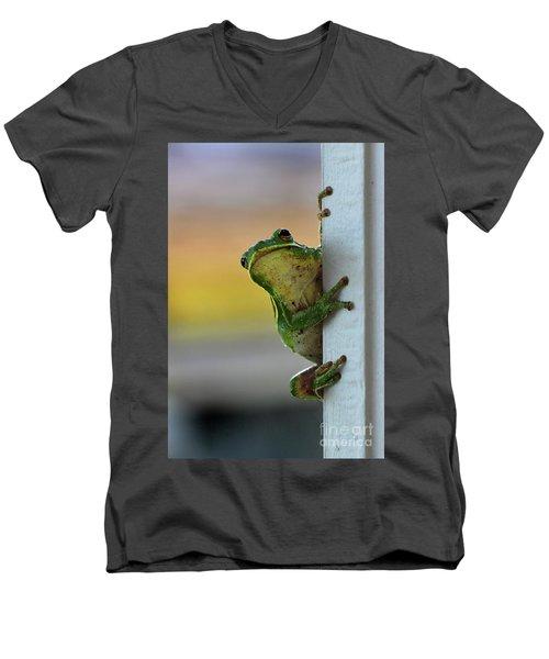 Green Tree Frog  It's Not Easy Being Green Men's V-Neck T-Shirt