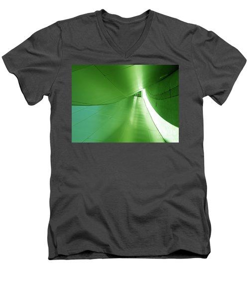 Men's V-Neck T-Shirt featuring the photograph Green Tunnel. Los Angeles Series. by Ausra Huntington nee Paulauskaite