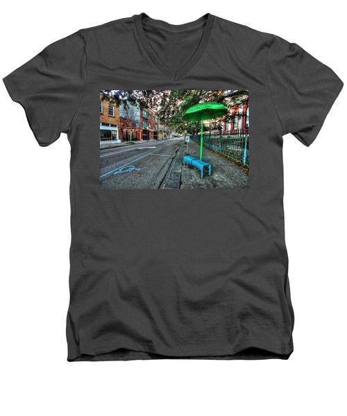 Green Umbrella Bus Stop Men's V-Neck T-Shirt