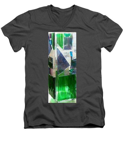 Men's V-Neck T-Shirt featuring the glass art Green Vase by Jamie Frier