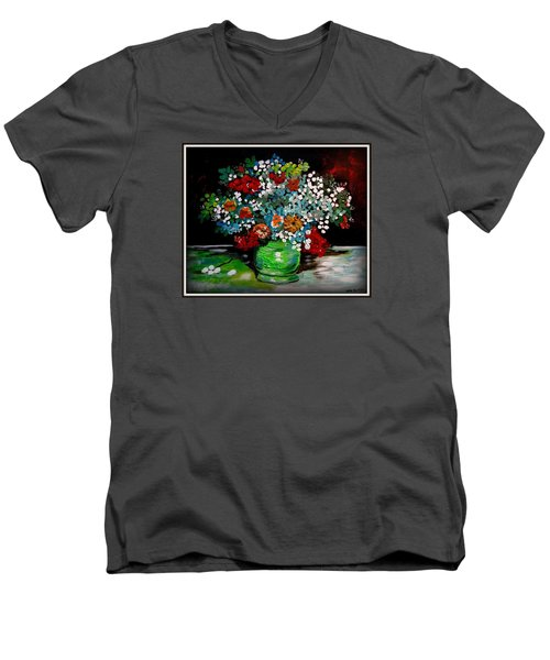 Green Vase With Flowers Men's V-Neck T-Shirt