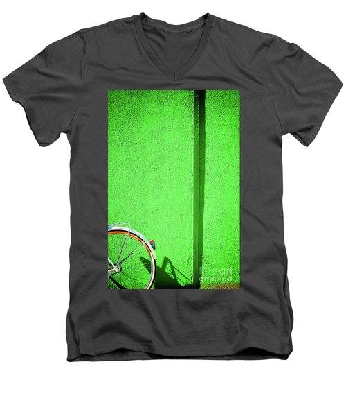 Men's V-Neck T-Shirt featuring the photograph Green Wall And Bicycle Wheel by Silvia Ganora