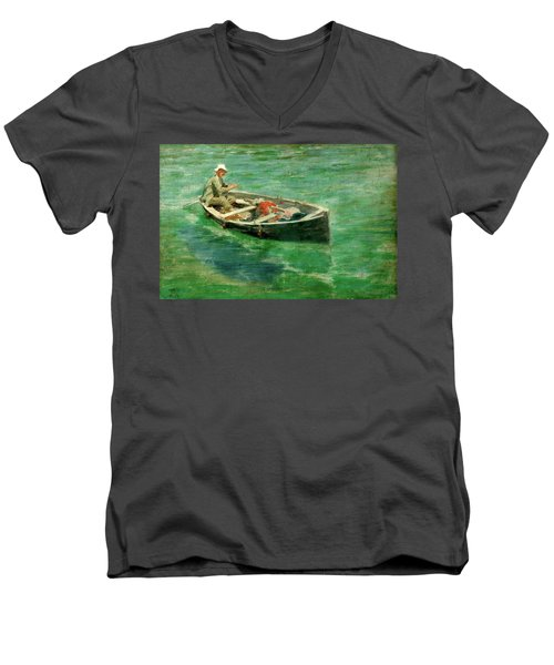 Men's V-Neck T-Shirt featuring the painting Green Waters by Henry Scott Tuke
