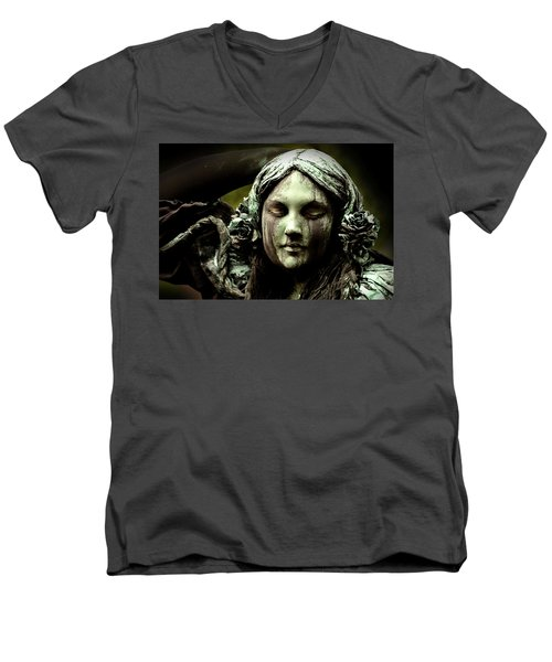 Green Woman A Portrait Men's V-Neck T-Shirt