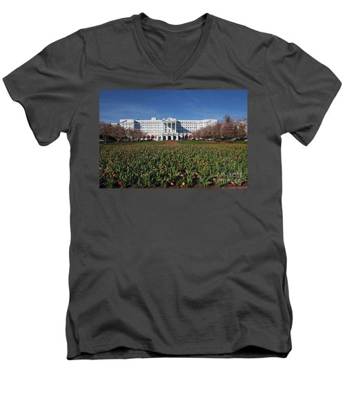 Men's V-Neck T-Shirt featuring the photograph Greenbrier Resort by Laurinda Bowling