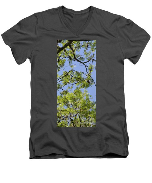 Greenery Right Panel Men's V-Neck T-Shirt by Renie Rutten
