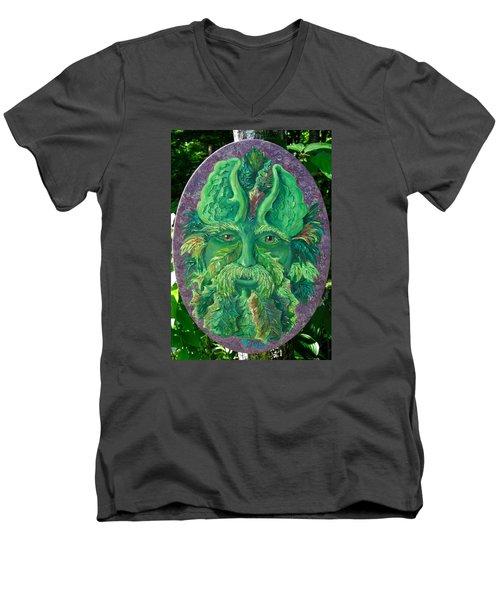 Greenman 3 Men's V-Neck T-Shirt by Megan Walsh