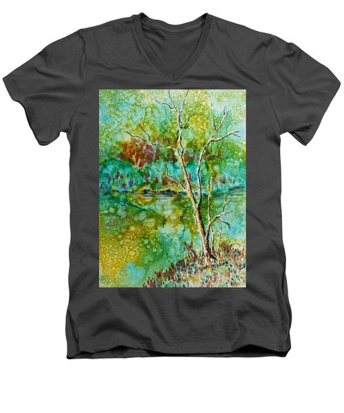 Men's V-Neck T-Shirt featuring the painting Greens Of Late Summer by Carolyn Rosenberger