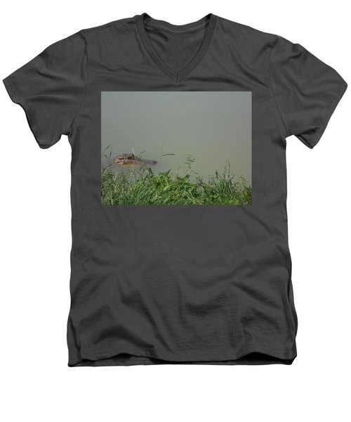 Men's V-Neck T-Shirt featuring the photograph Greenwood Gator Farm by Cynthia Powell