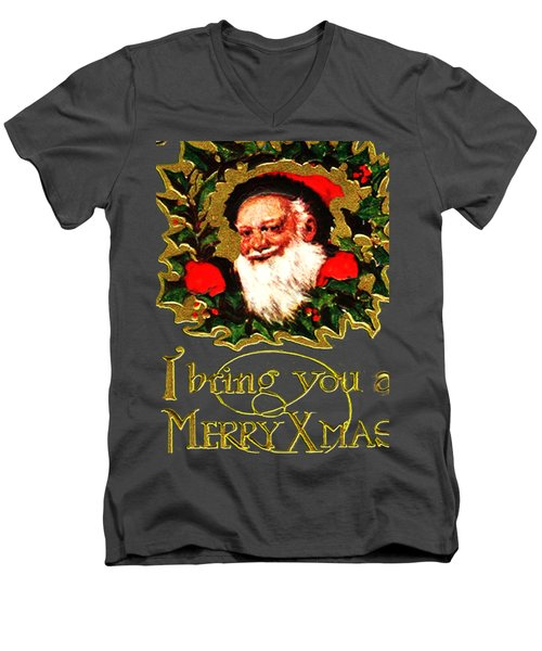 Greetings From Santa Men's V-Neck T-Shirt by Asok Mukhopadhyay