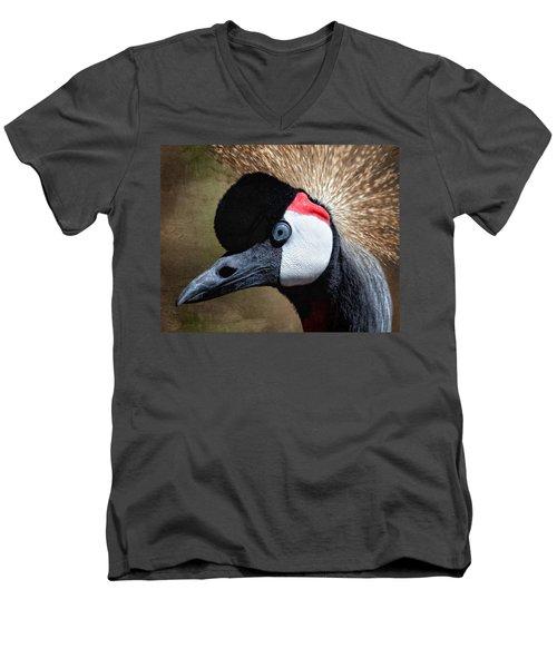 Grey - Crowned Crane Men's V-Neck T-Shirt