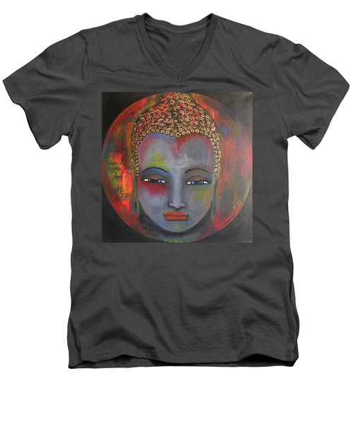 Men's V-Neck T-Shirt featuring the painting Grey Buddha In A Circular Background by Prerna Poojara