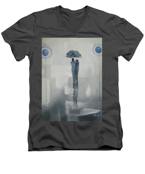 Grey Day Romance Men's V-Neck T-Shirt by Raymond Doward
