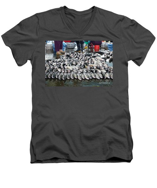 Men's V-Neck T-Shirt featuring the photograph Grey Mullet Fish For Sale At The Fish Market by Yali Shi