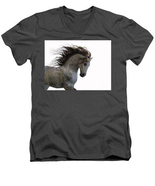 Grey On White Men's V-Neck T-Shirt