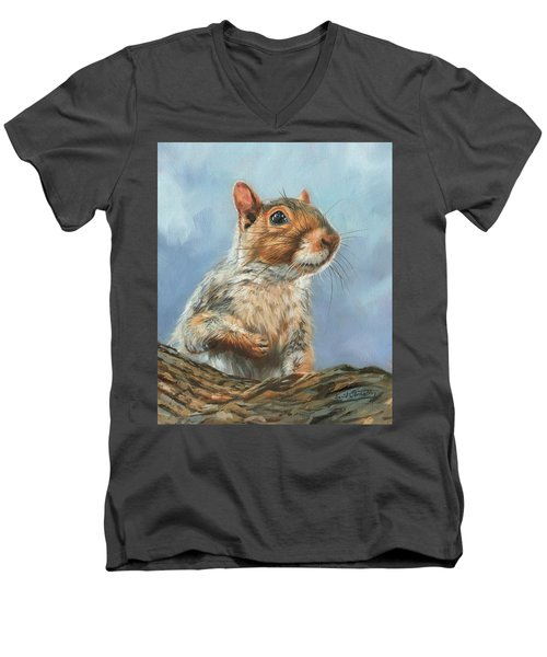Men's V-Neck T-Shirt featuring the painting Grey Squirrel by David Stribbling