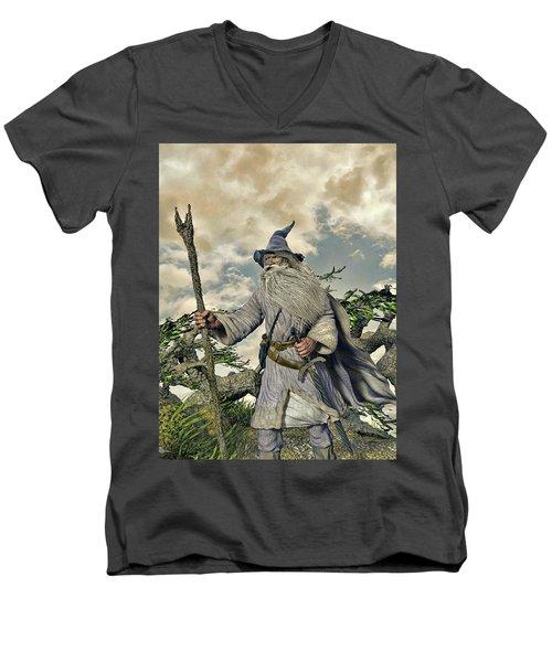 Grey Wizard II Men's V-Neck T-Shirt by Dave Luebbert