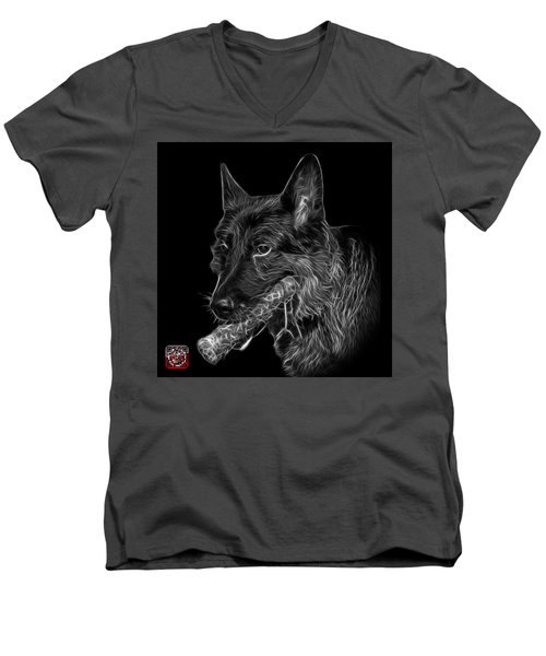 Greyscale German Shepherd And Toy - 0745 F Men's V-Neck T-Shirt by James Ahn