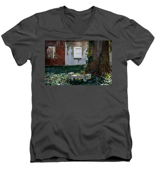Grieving Bench At St. Philip's Cemetery Men's V-Neck T-Shirt