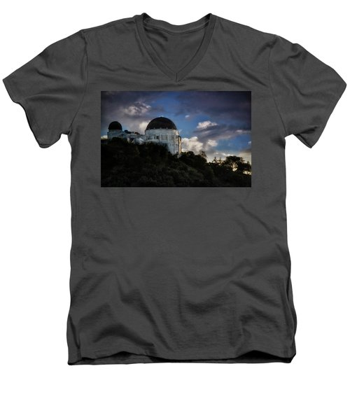 Men's V-Neck T-Shirt featuring the photograph Griffith Observatory by Joseph Hollingsworth