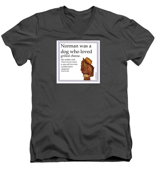 Grilled Cheese Dog Men's V-Neck T-Shirt by Graham Harrop