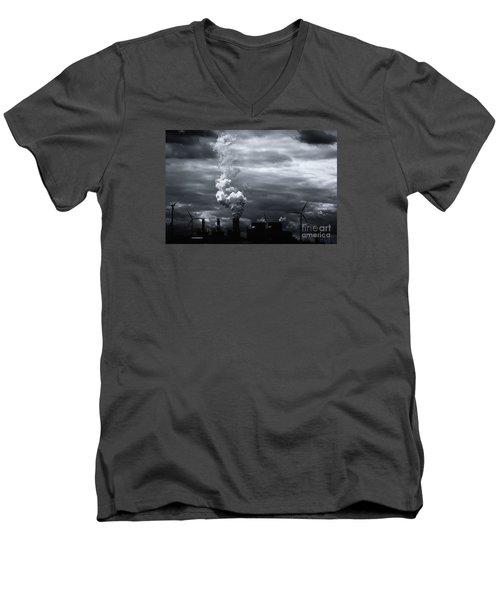 Grim Black White Energy Landscape Men's V-Neck T-Shirt
