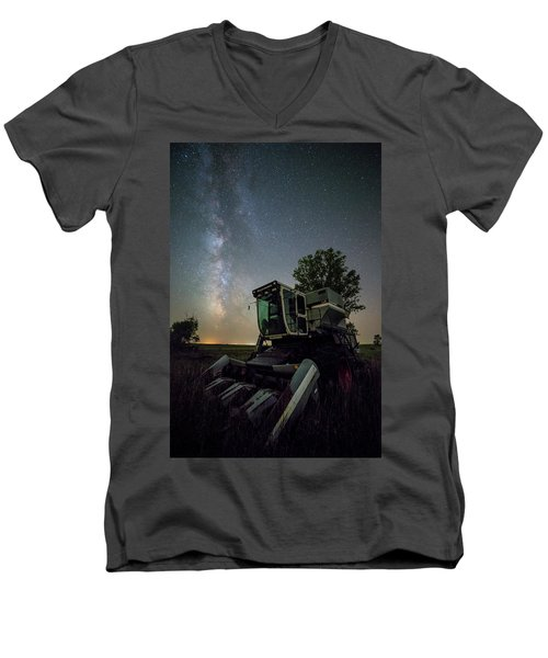Men's V-Neck T-Shirt featuring the photograph Grim Gleaner  by Aaron J Groen