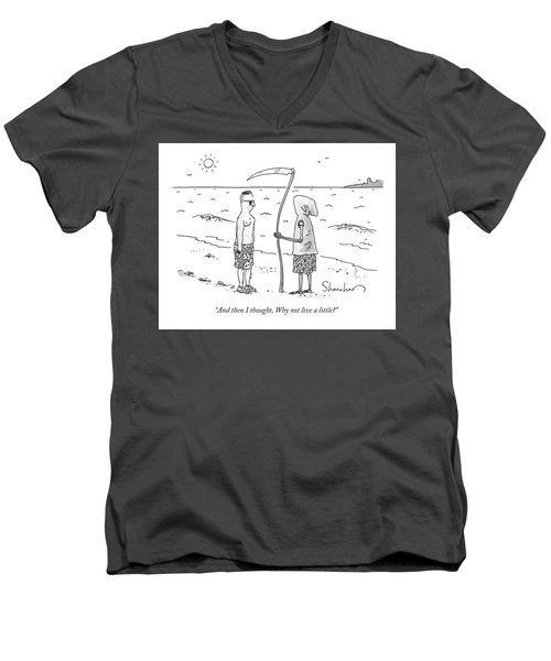 Grim Reaper Wearing A Swimsuit At The Beach. Men's V-Neck T-Shirt