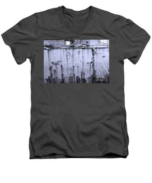 Men's V-Neck T-Shirt featuring the photograph Grimy Old Ship Hull by Yali Shi