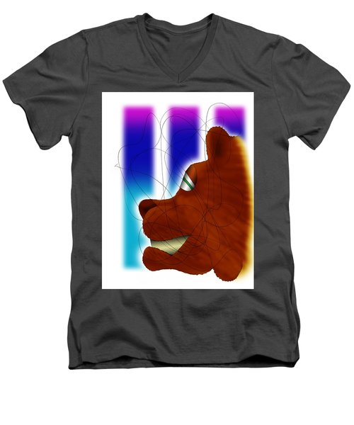 Grin And Bear It Men's V-Neck T-Shirt by Ismael Cavazos