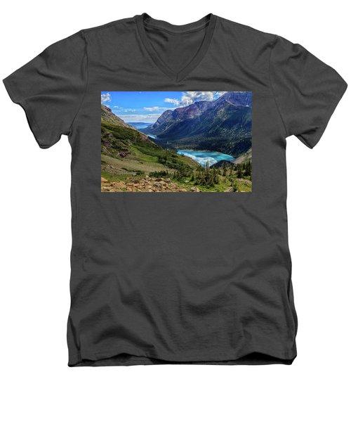 Grinell Hike In Glacier National Park Men's V-Neck T-Shirt