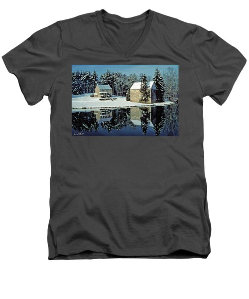 Grings Mill Snow 001 Men's V-Neck T-Shirt by Scott McAllister