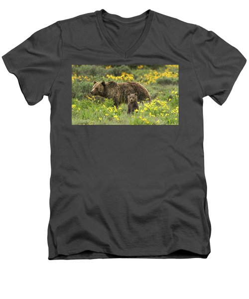 Grizzlies In The Wildflowers Men's V-Neck T-Shirt