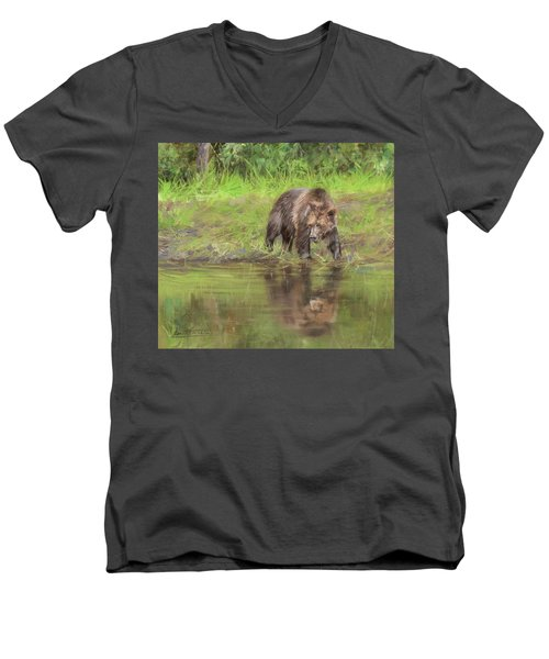 Grizzly Bear At Water's Edge Men's V-Neck T-Shirt