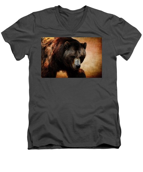 Grizzly Bear Men's V-Neck T-Shirt by Judy Vincent