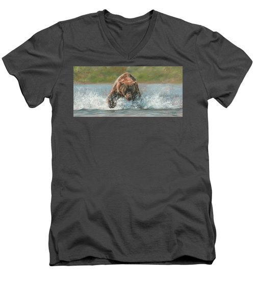 Grizzly Charge Men's V-Neck T-Shirt by David Stribbling