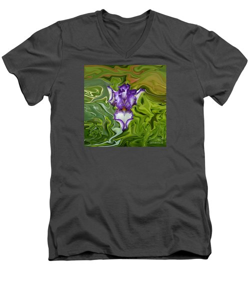 Men's V-Neck T-Shirt featuring the photograph Groovy Purple Iris by Rebecca Margraf