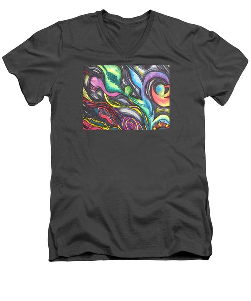 Men's V-Neck T-Shirt featuring the painting Groovy Series Titled My Hippy Days  by Chrisann Ellis