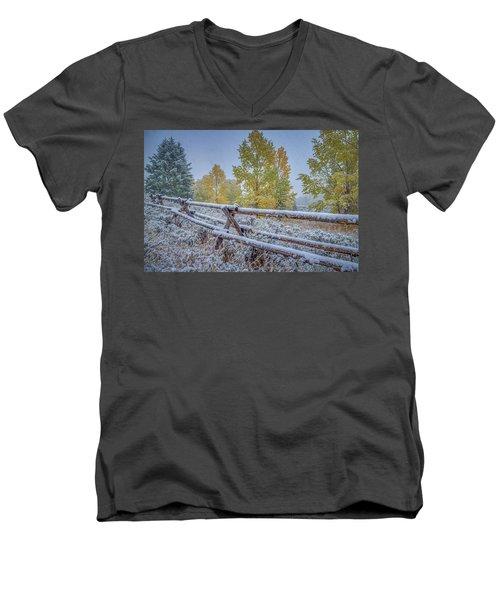 Gros Ventre Grand Teton Fall Snowfall Fence Men's V-Neck T-Shirt