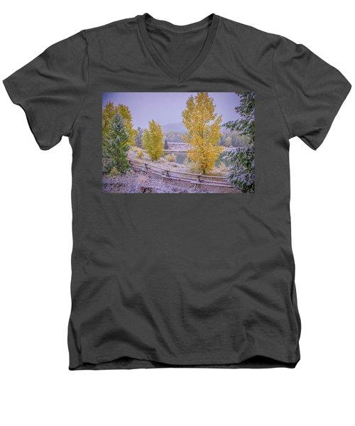 Gros Ventre Grand Teton Fall Snowfall Men's V-Neck T-Shirt