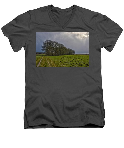 Group Of Trees Against A Dark Sky Men's V-Neck T-Shirt