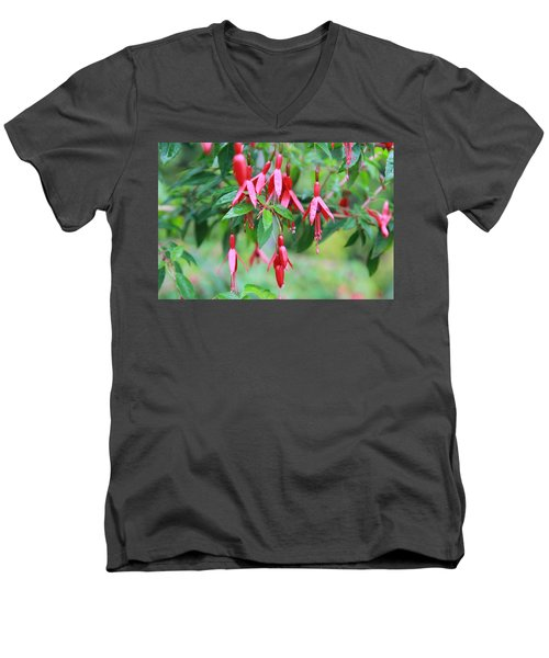 Men's V-Neck T-Shirt featuring the photograph Growing In Red And Purple by Laddie Halupa