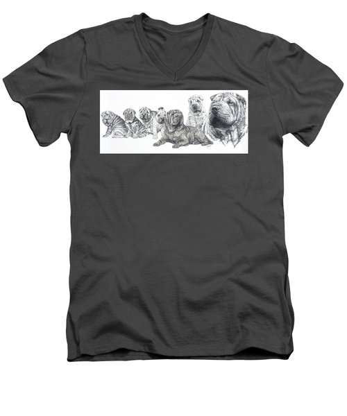 Men's V-Neck T-Shirt featuring the drawing Growing Up Chinese Shar-pei by Barbara Keith